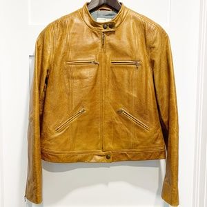 J. Crew Cognac Brown Leather Moto Jacket